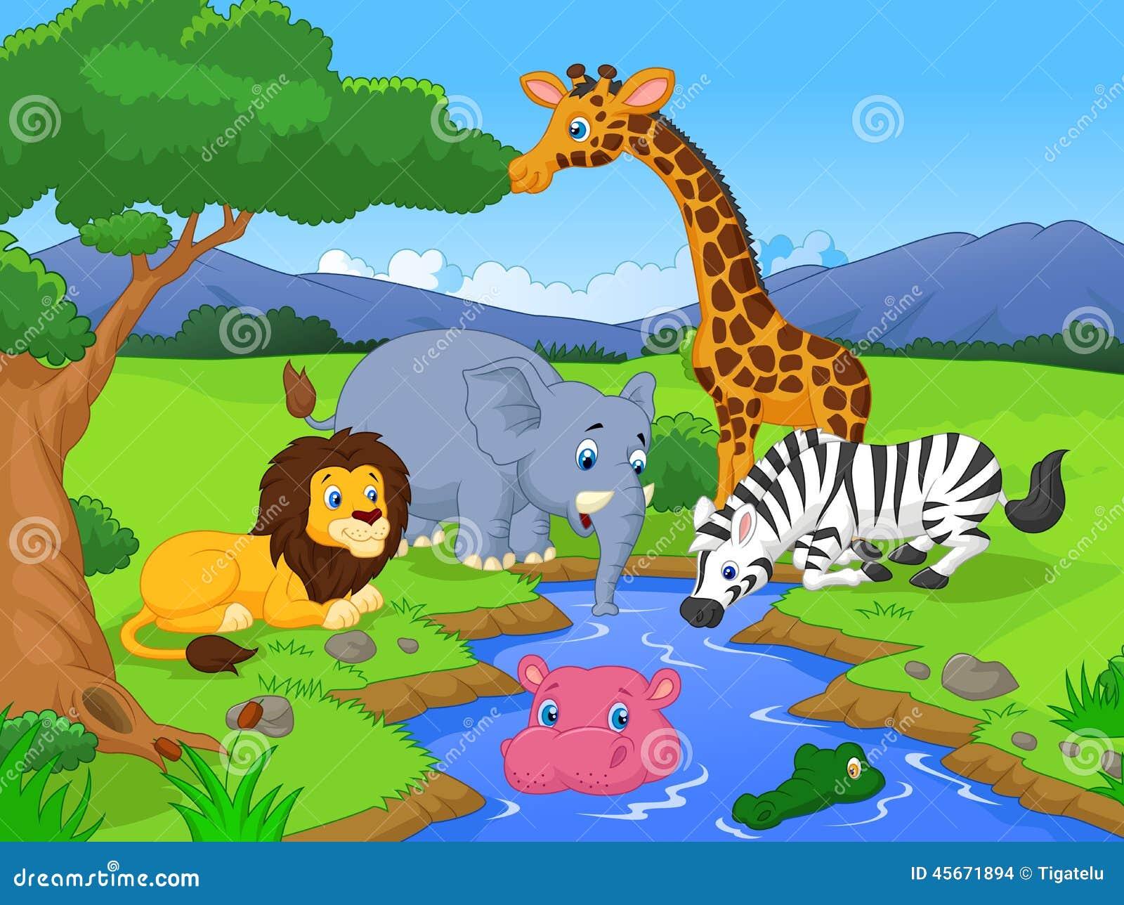 Scène animale de personnages de dessin animé de safari africain mignon
