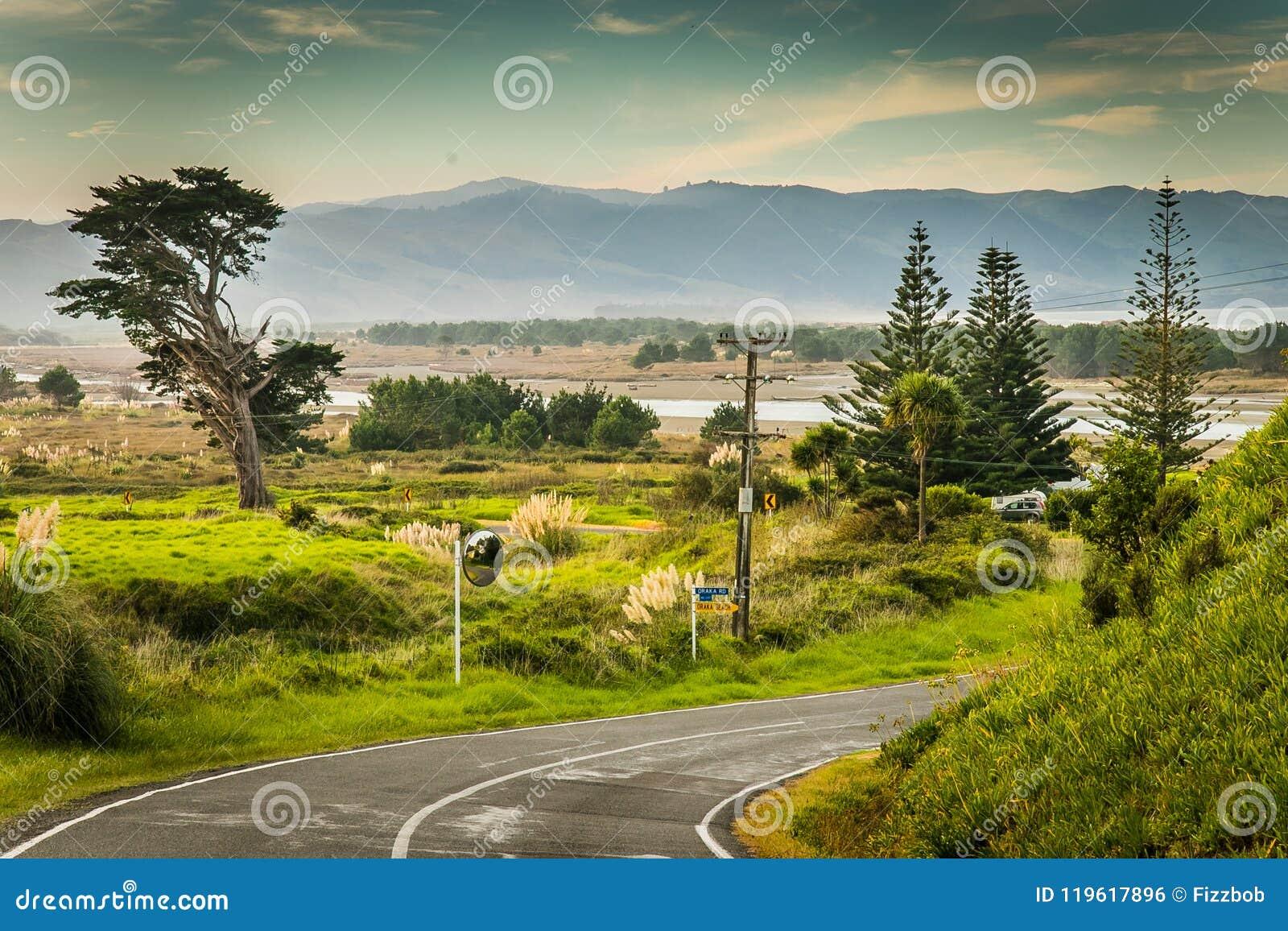 Scène côtière et rurale de paysage avec la route, péninsule de Mahia, Côte Est, île du nord, Nouvelle-Zélande