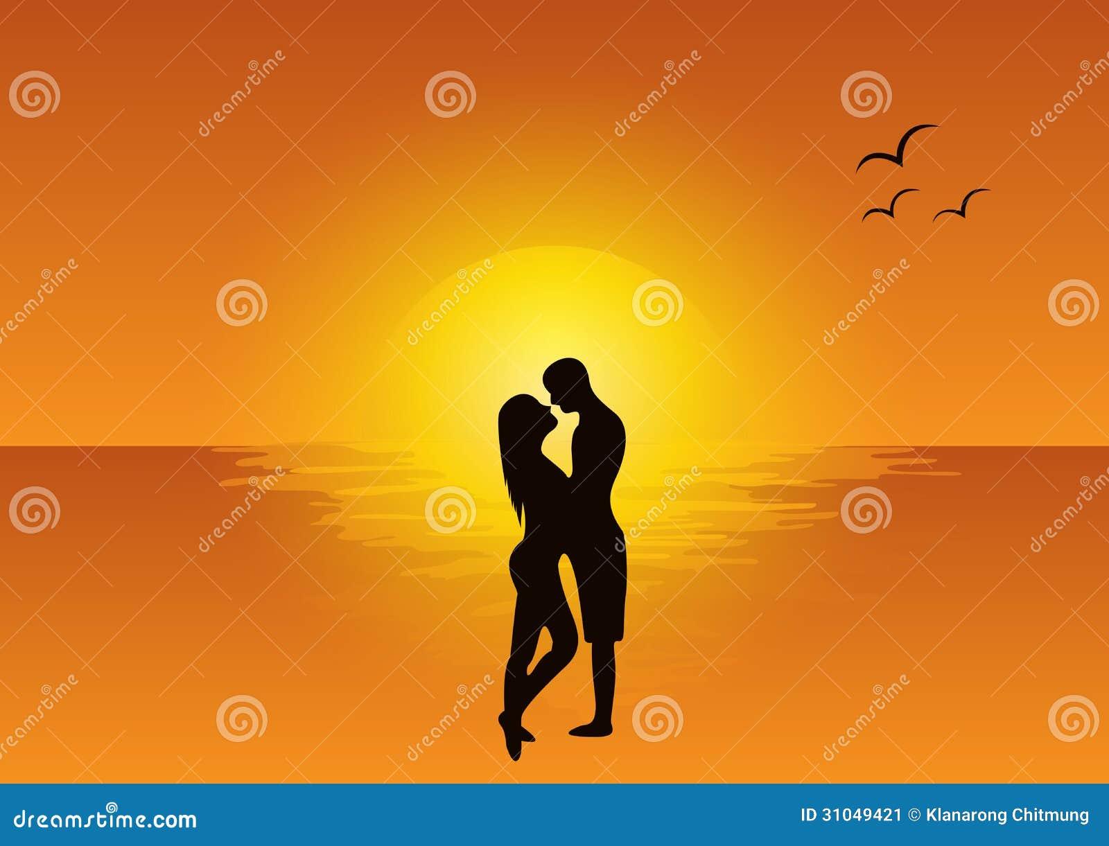 sc ne d 39 amour au coucher du soleil image stock image 31049421. Black Bedroom Furniture Sets. Home Design Ideas