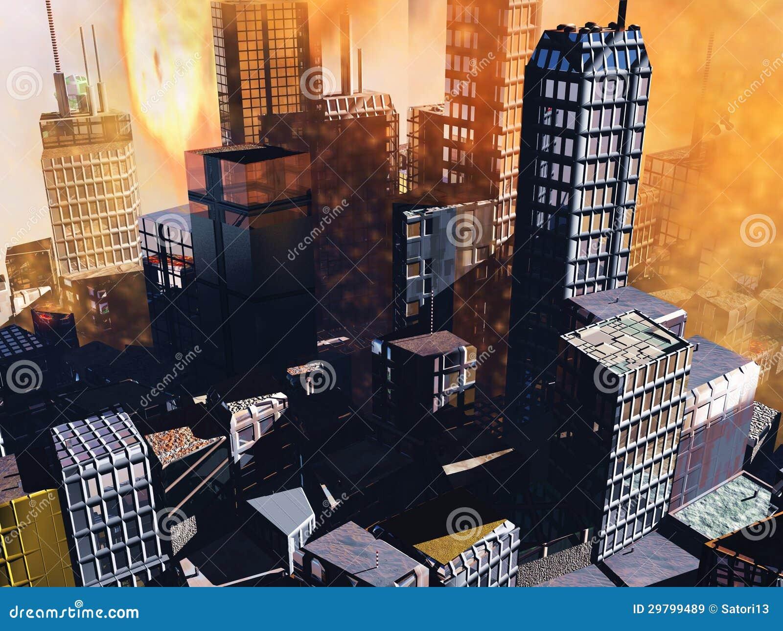 Scène d Armageddon dans la ville