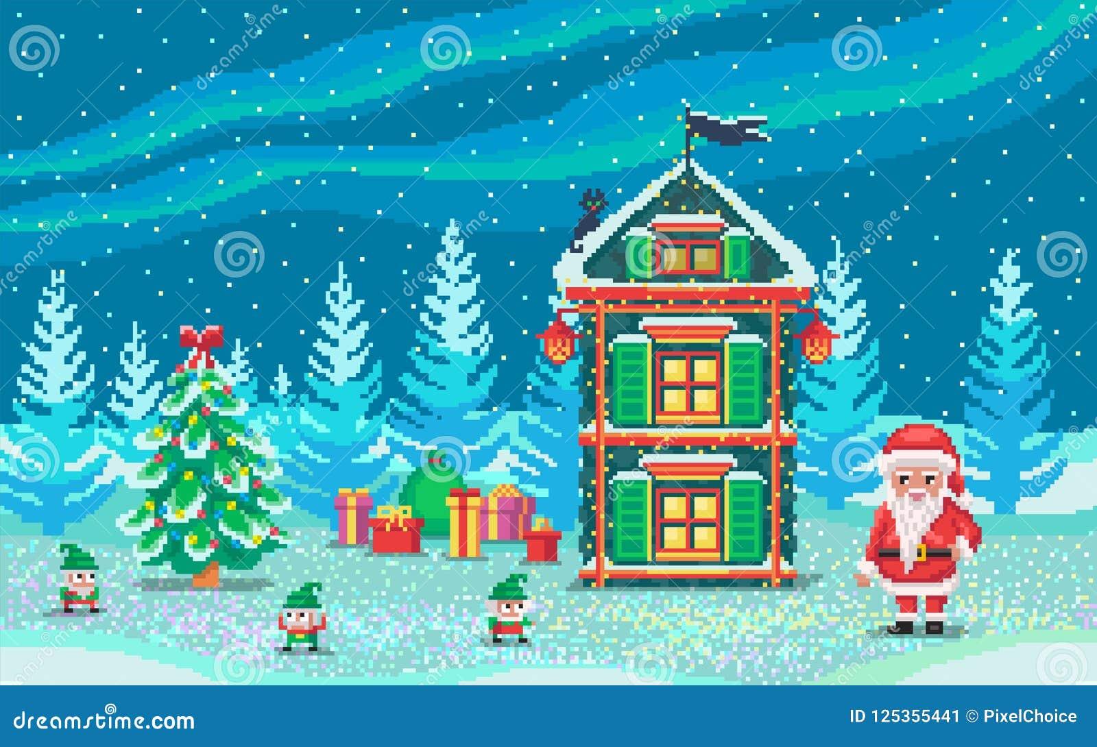 Scène Dart De Pixel Avec Le Père Noël Et Des Gnomes