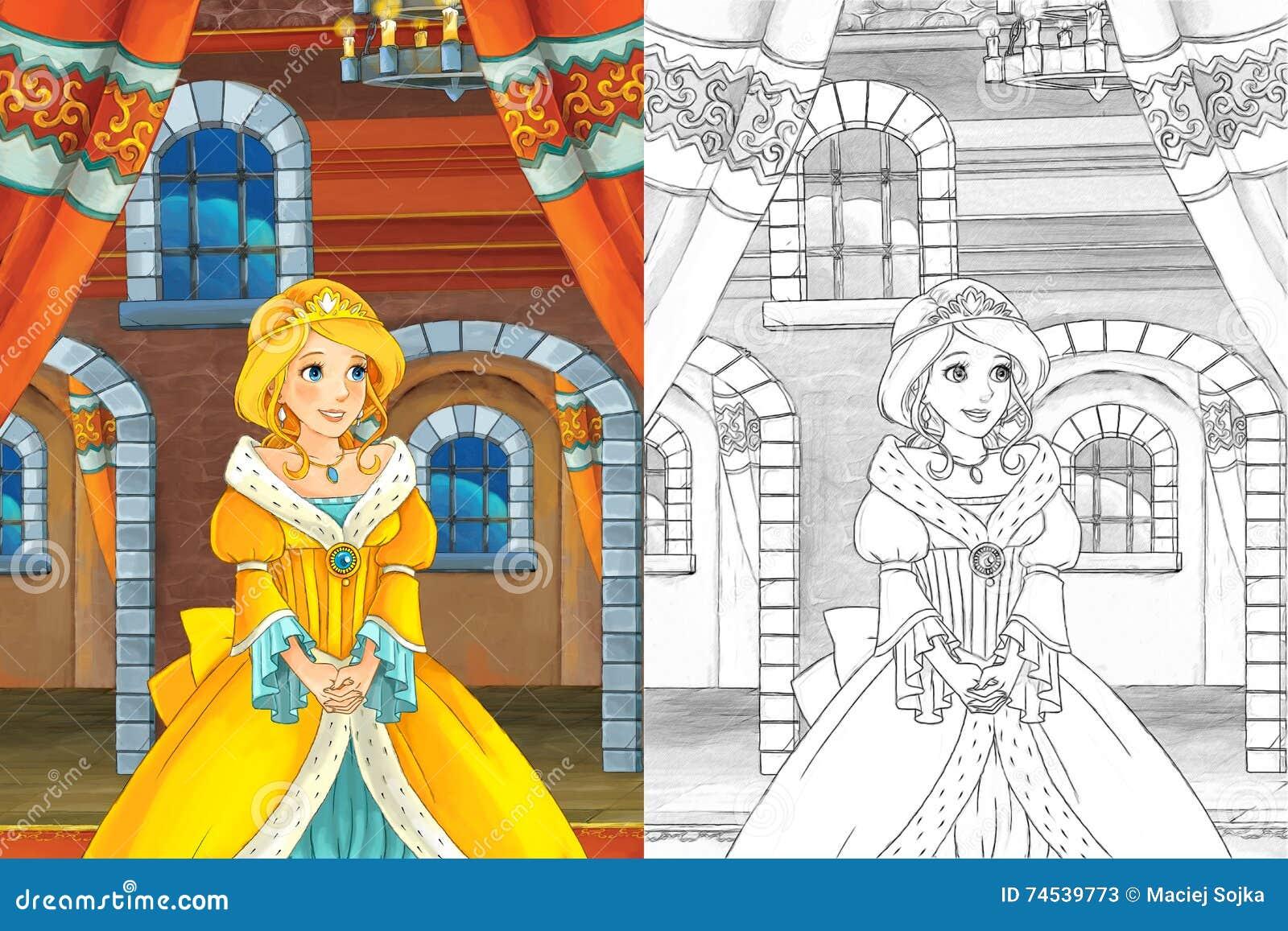 Sc ne de bande dessin e avec la belle princesse sortant du - Fille en manga ...