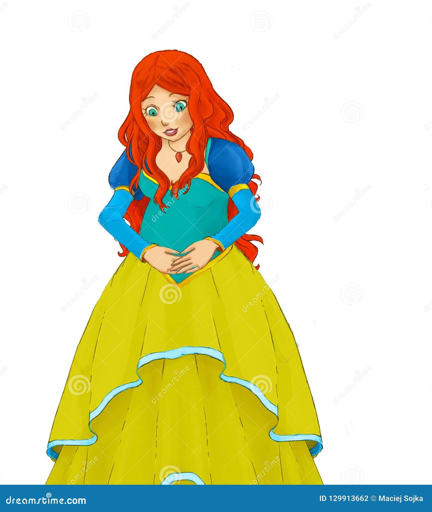 Scène de bande dessinée avec la princesse enceinte tenant son ventre