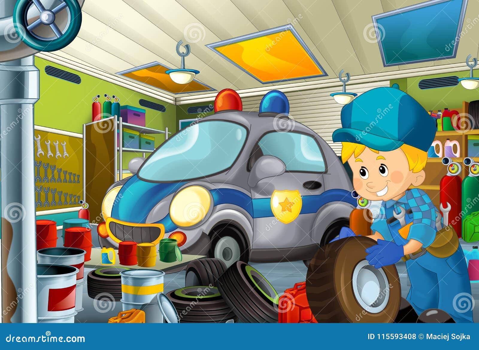 Scène de bande dessinée avec le mécanicien de garage travaillant repearing un certain véhicule - maintenez l ordre le lieu de tra