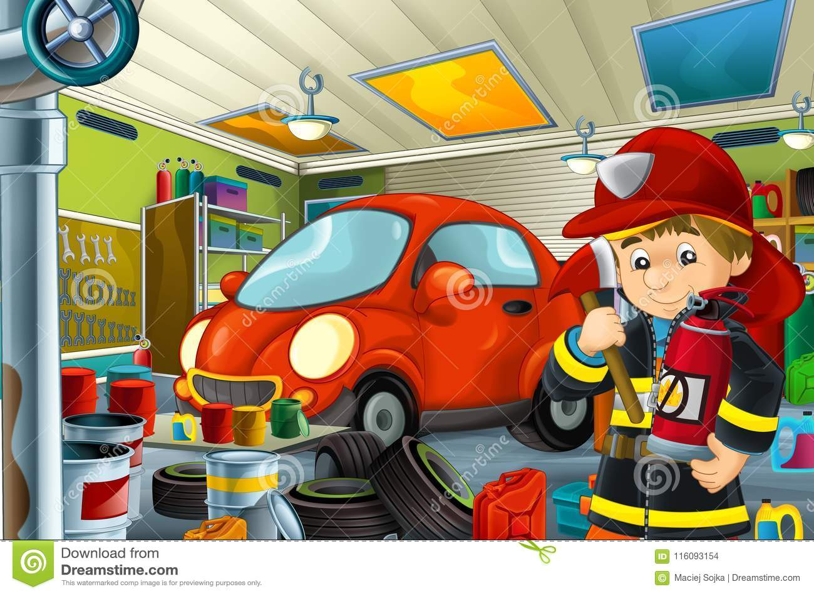 Scène de bande dessinée avec le mécanicien de pompier de garage travaillant repearing un certain véhicule - lieu de travail autom