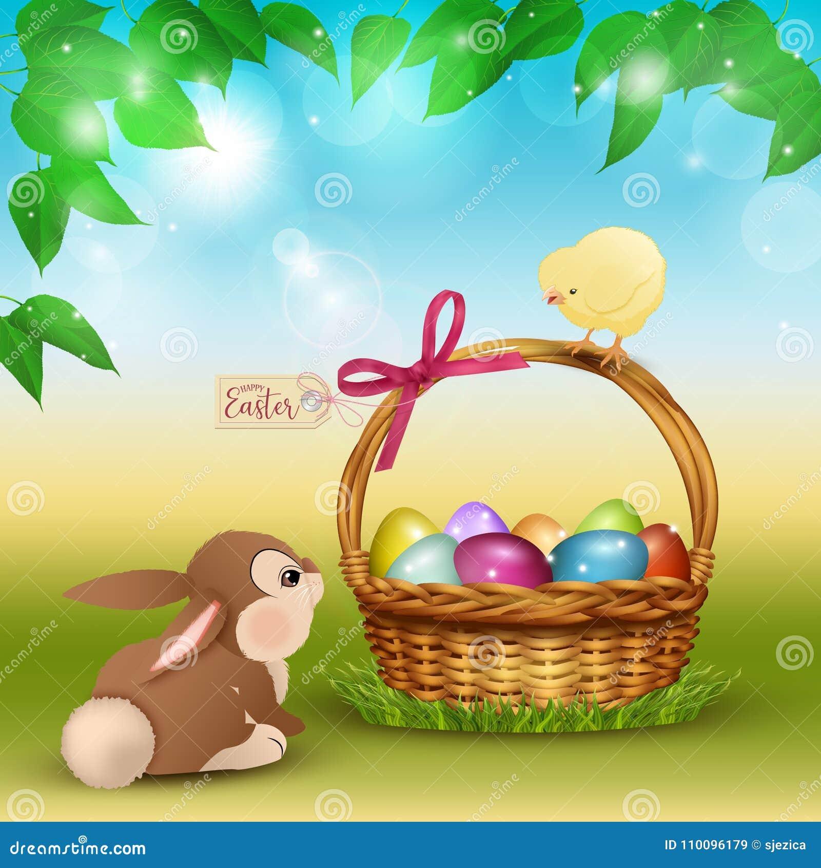 Scène de bande dessinée de Pâques avec le lapin et le poulet mignons