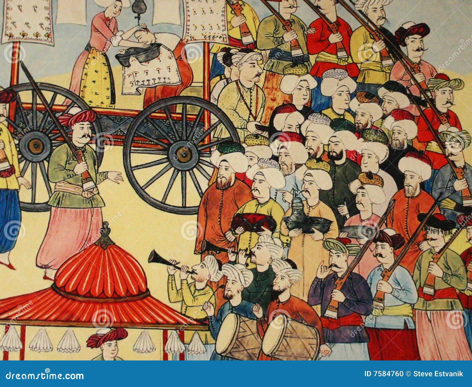 Scène de camp de Janissary, peinture de tabouret,
