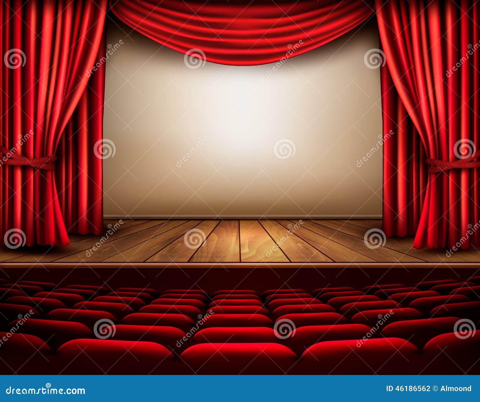 Scene De Cinema Ou De Theatre Avec Un Rideau Illustration