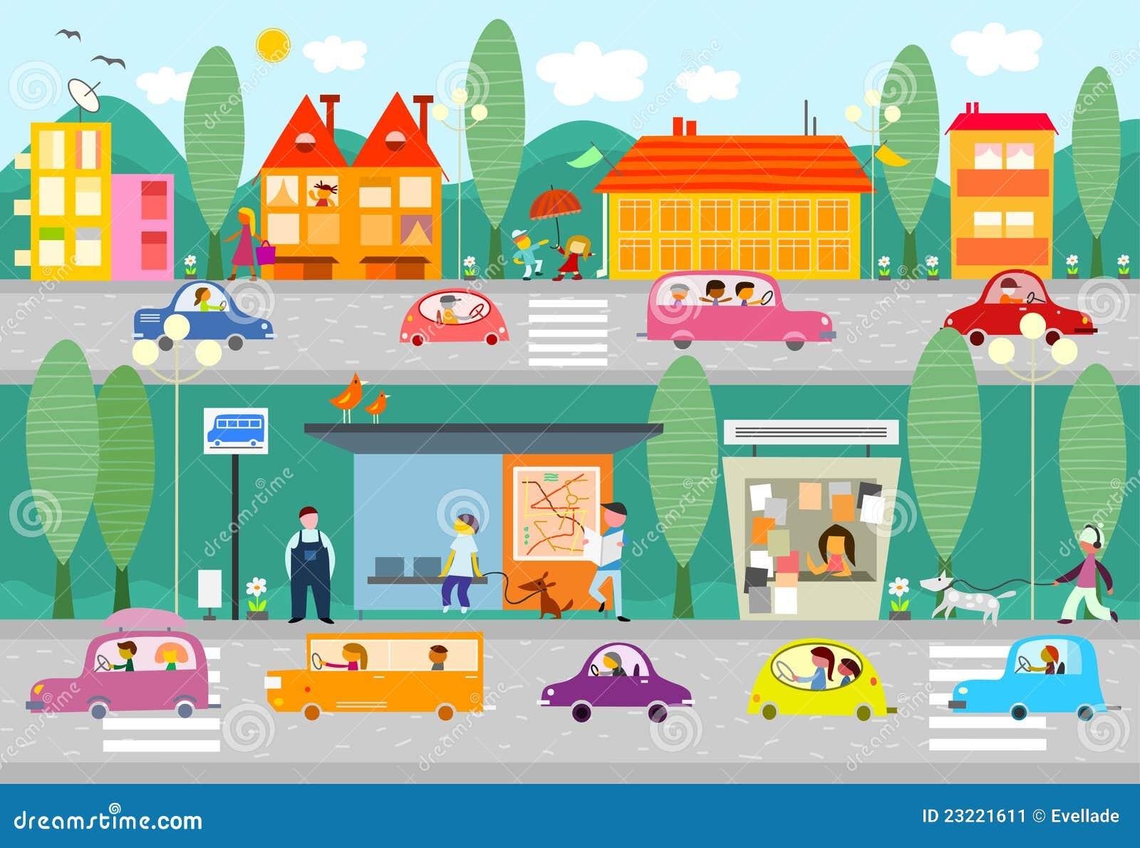 Scène de durée de ville avec l arrêt de bus