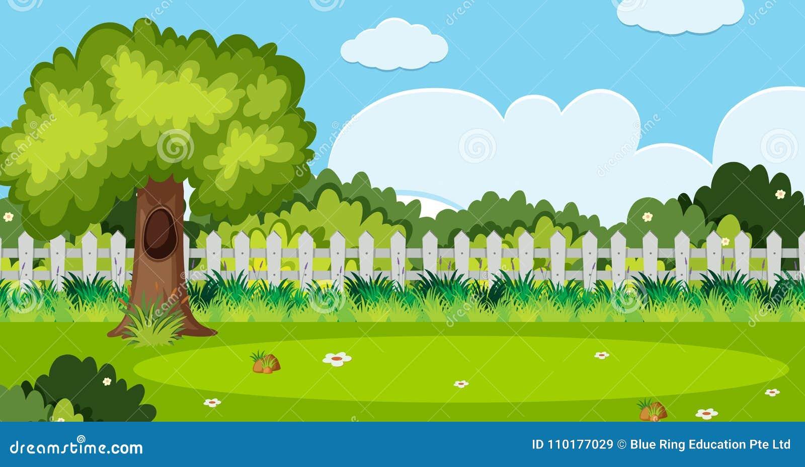 Scène De Fond Avec L\'arbre Et La Barrière Blanche Dans Le ...