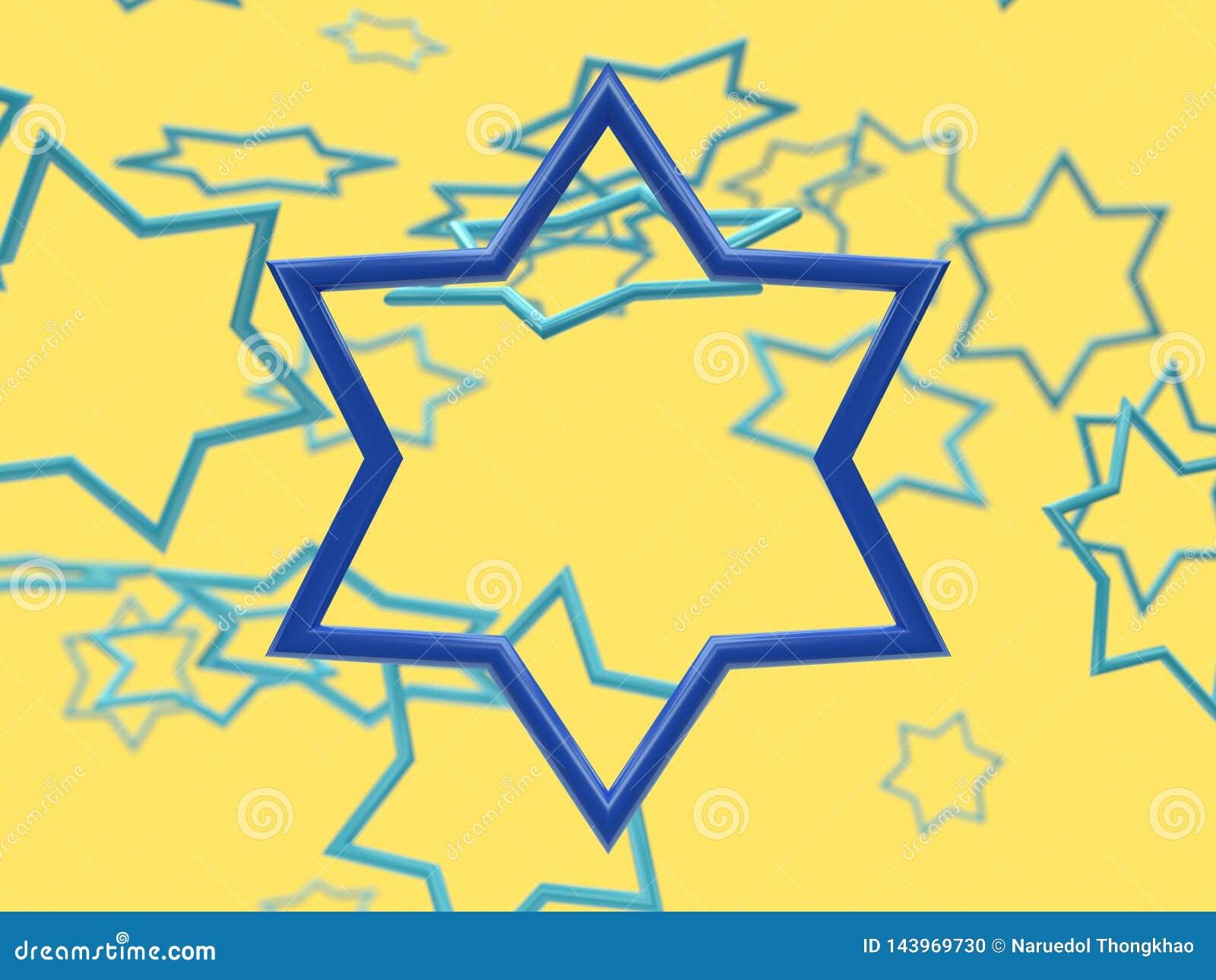 Scène de jaune de lévitation de cadre d étoile bleue