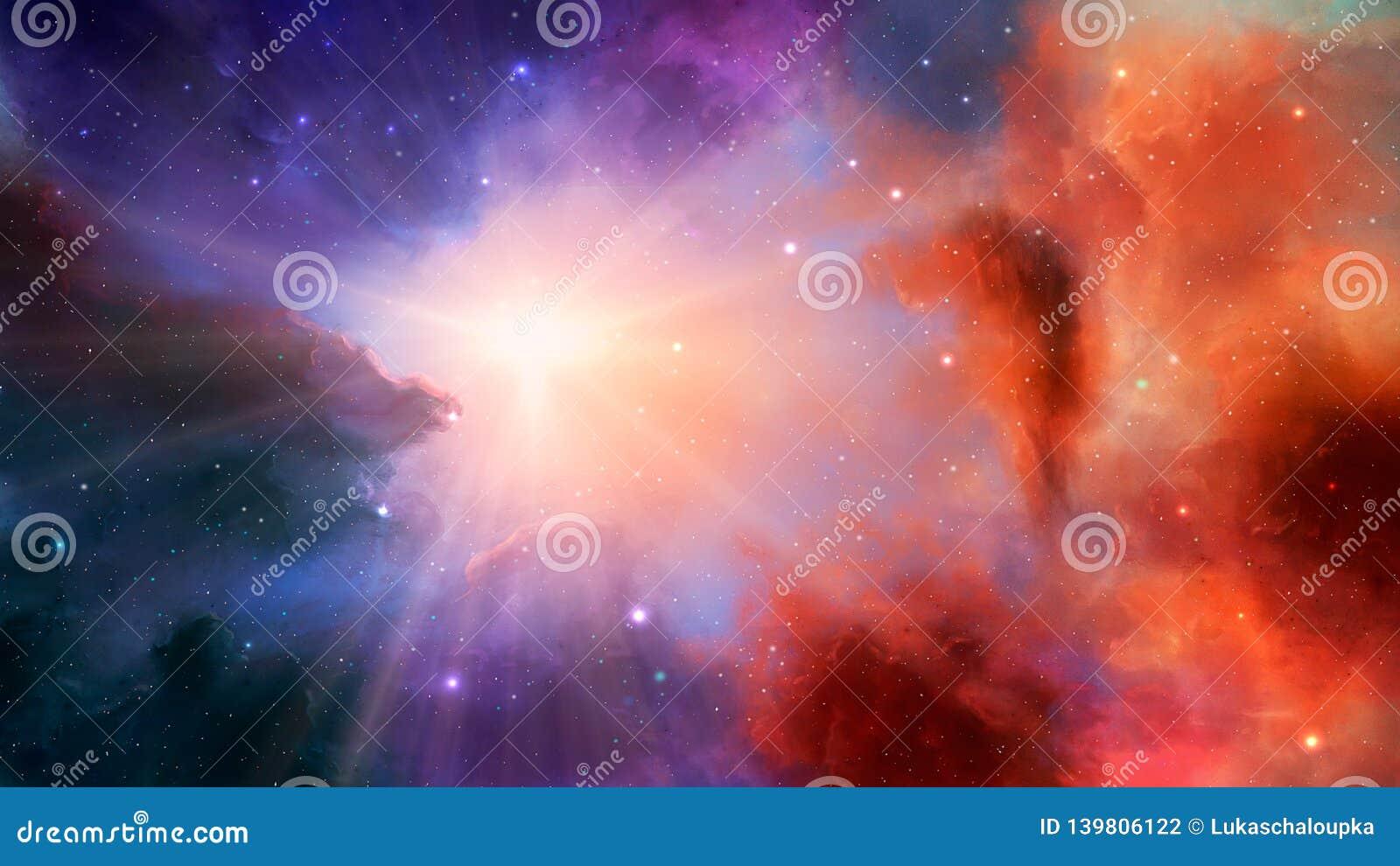 Scène de l espace Nébuleuse colorée avec des étoiles et des rayons légers Éléments meublés par la NASA rendu 3d