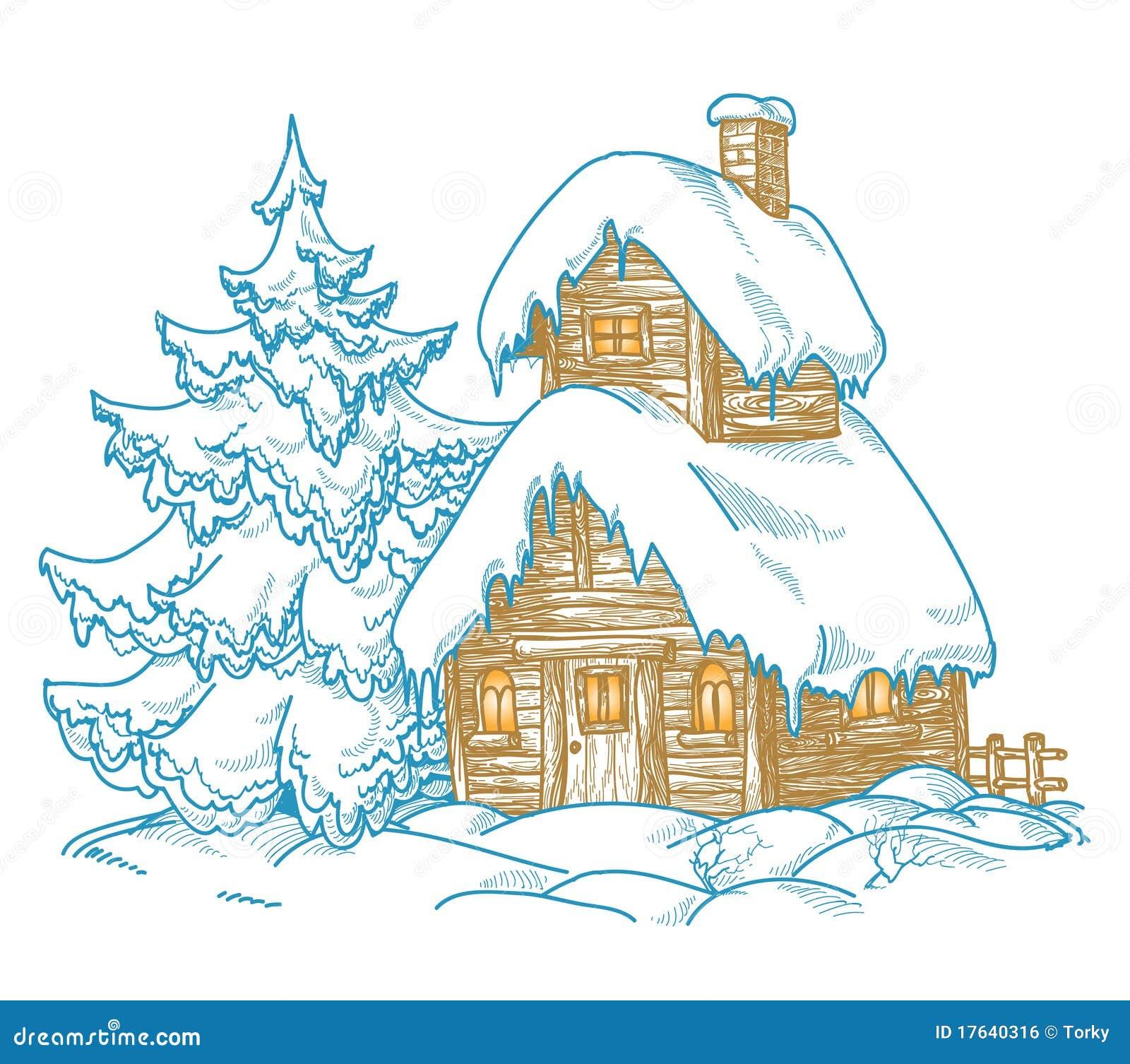 Sc ne de l 39 hiver de dessin anim image libre de droits image 17640316 - Dessin de l hiver ...