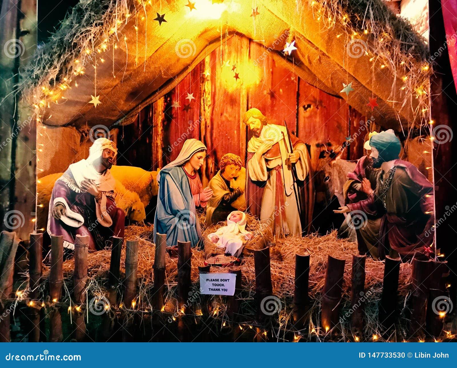 Scène de nativité de Noël avec le bébé