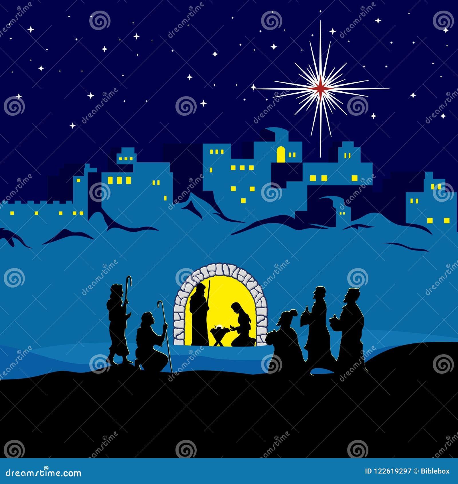 Scène de nativité Noël bethlehem Mary, Joseph et petit Jésus Les bergers et les sages sont venus pour adorer Jésus