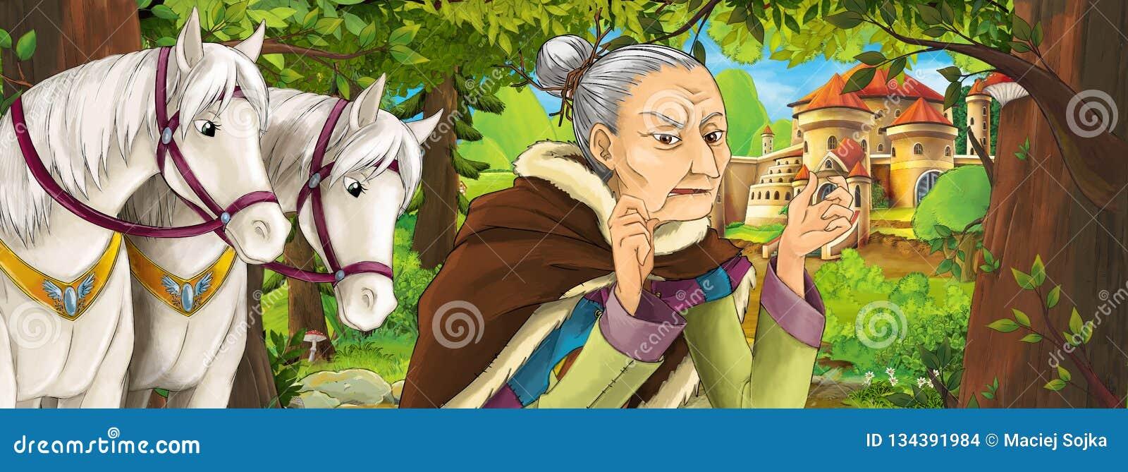 Scène de nature de bande dessinée avec le beau château près de la forêt avec la sorcière de sorcière de dame âgée