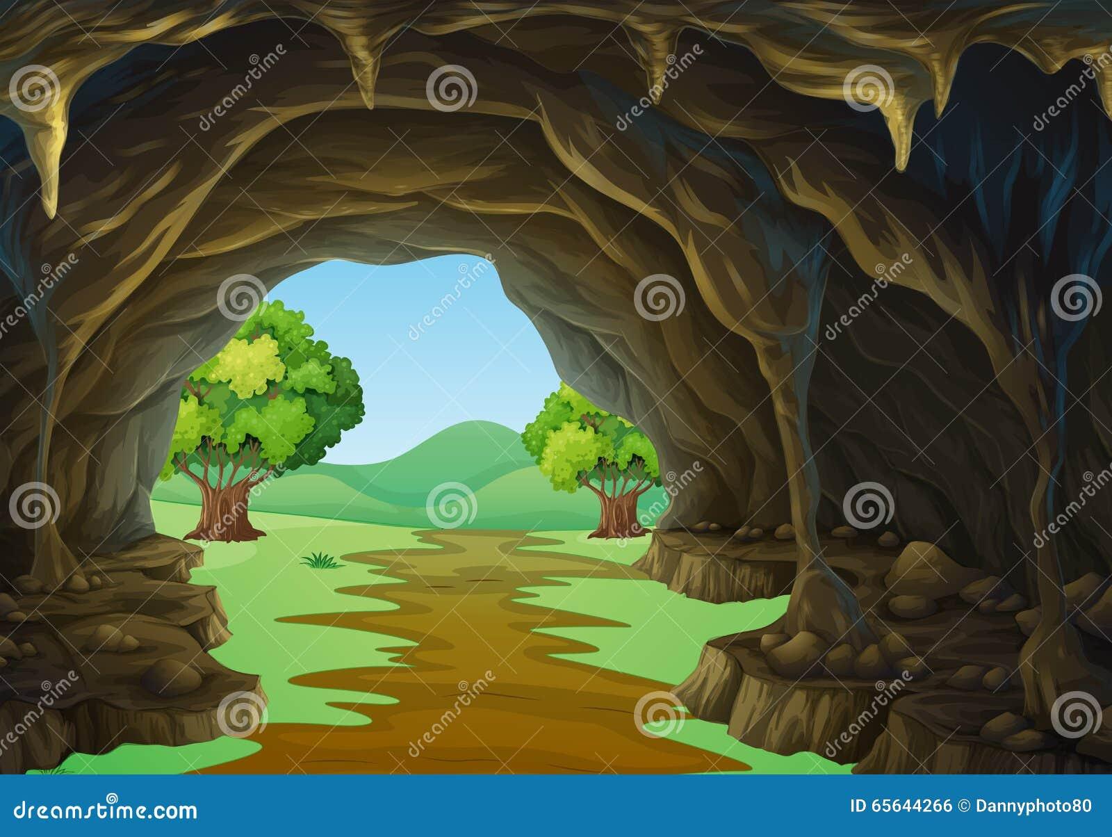 Scène de nature de caverne et de traînée