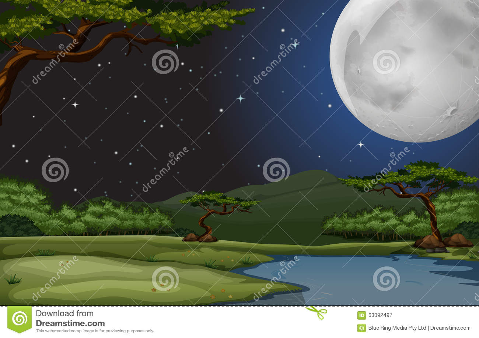 Download Scène De Nature La Nuit De Fullmoon Illustration de Vecteur - Illustration du côté, stars: 63092497