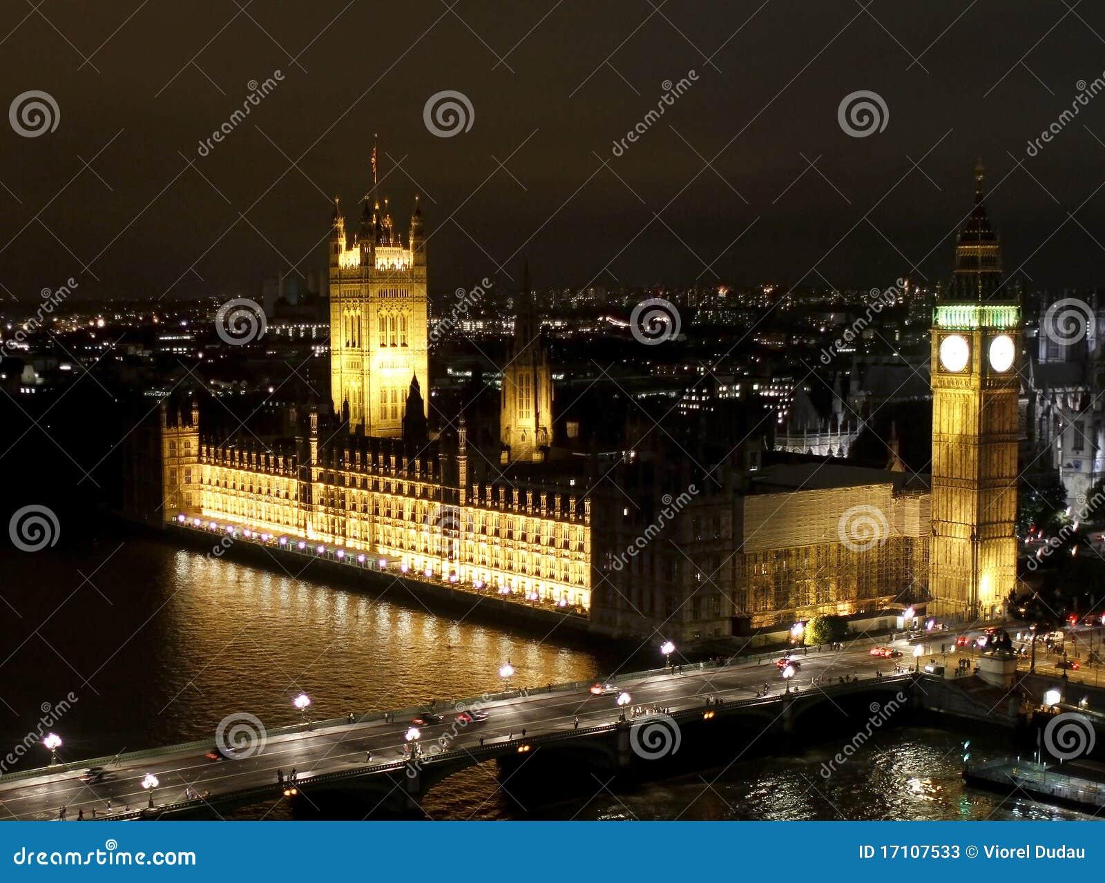 Scène de nuit de Londres, grand Ben et Abbaye de Westminster