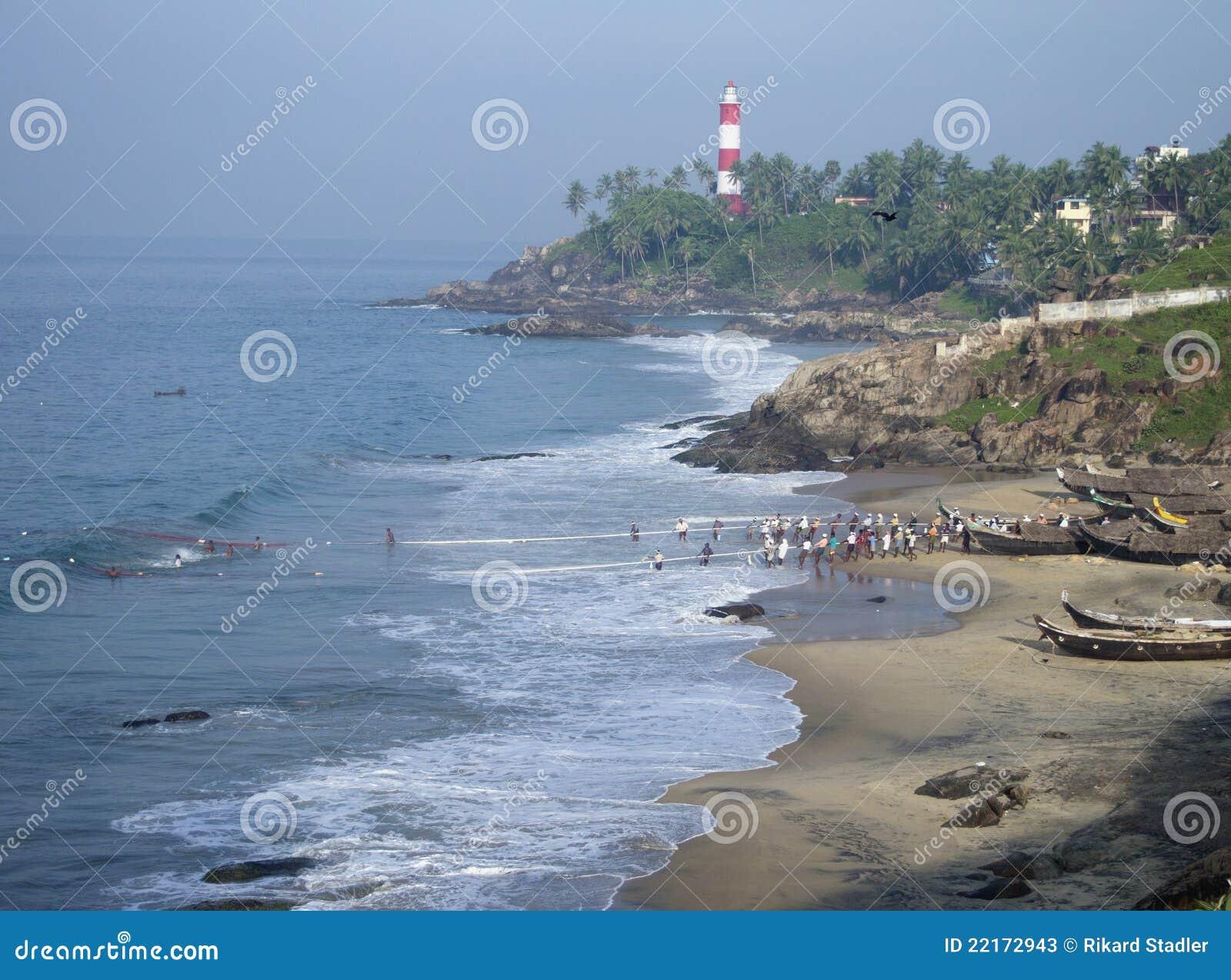 Scène de pêche du Kerala