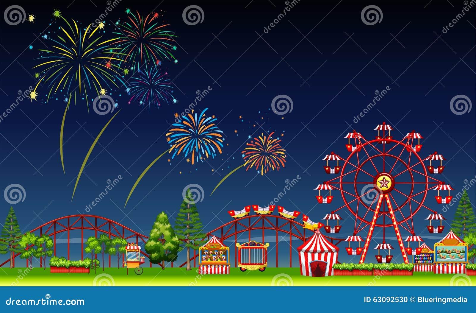 Download Scène De Parc D'attractions La Nuit Avec Des Feux D'artifice Illustration de Vecteur - Illustration du conduites, dessins: 63092530