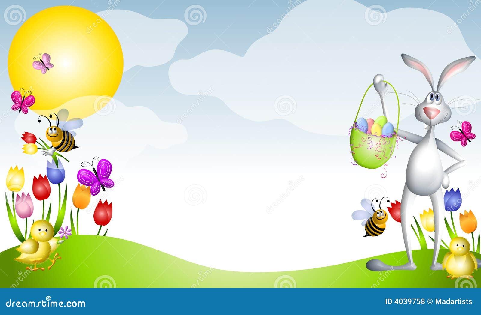 Scène de source d animaux de Pâques de dessin animé
