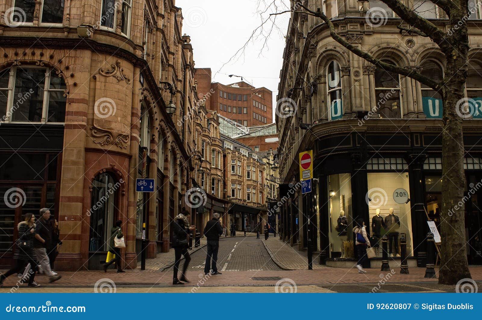 Scène in de stadscentrum van Birmingham