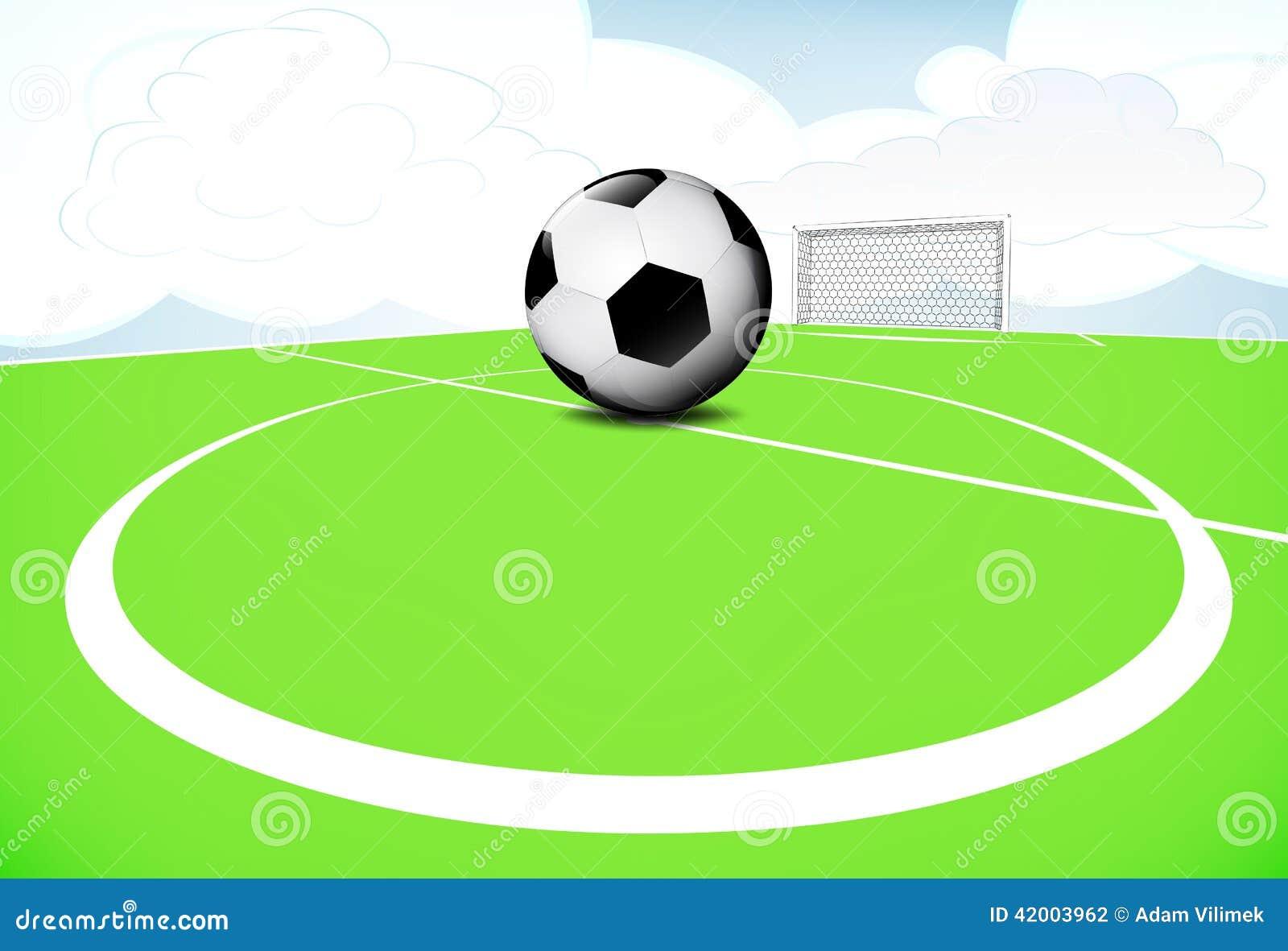 Scène de terrain de jeu du football de cercle central avec le ciel nuageux