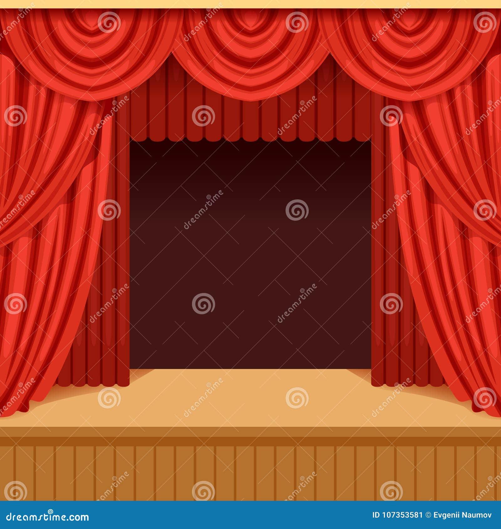 Scène De Théâtre Avec Le Rideau Rouge Et Le Paysage Foncé étape ...