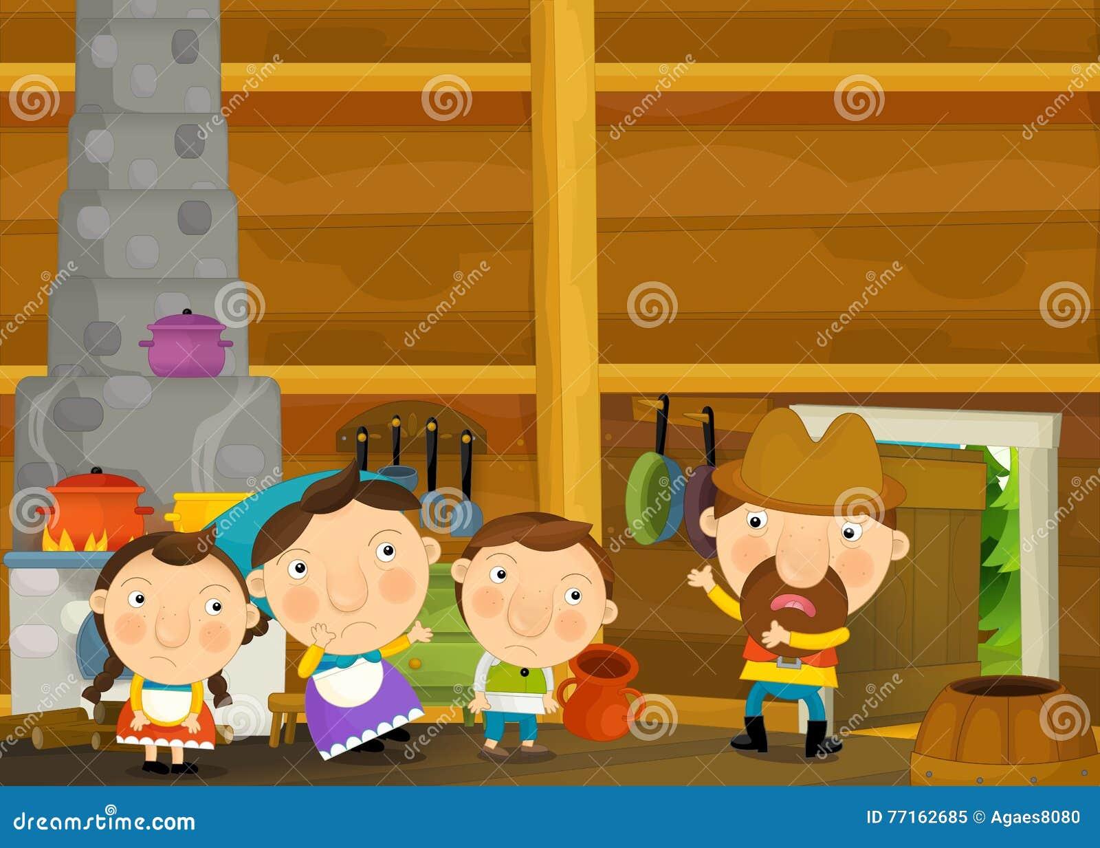 Scène traditionnelle heureuse et drôle de bande dessinée avec la famille dans la vieille maison