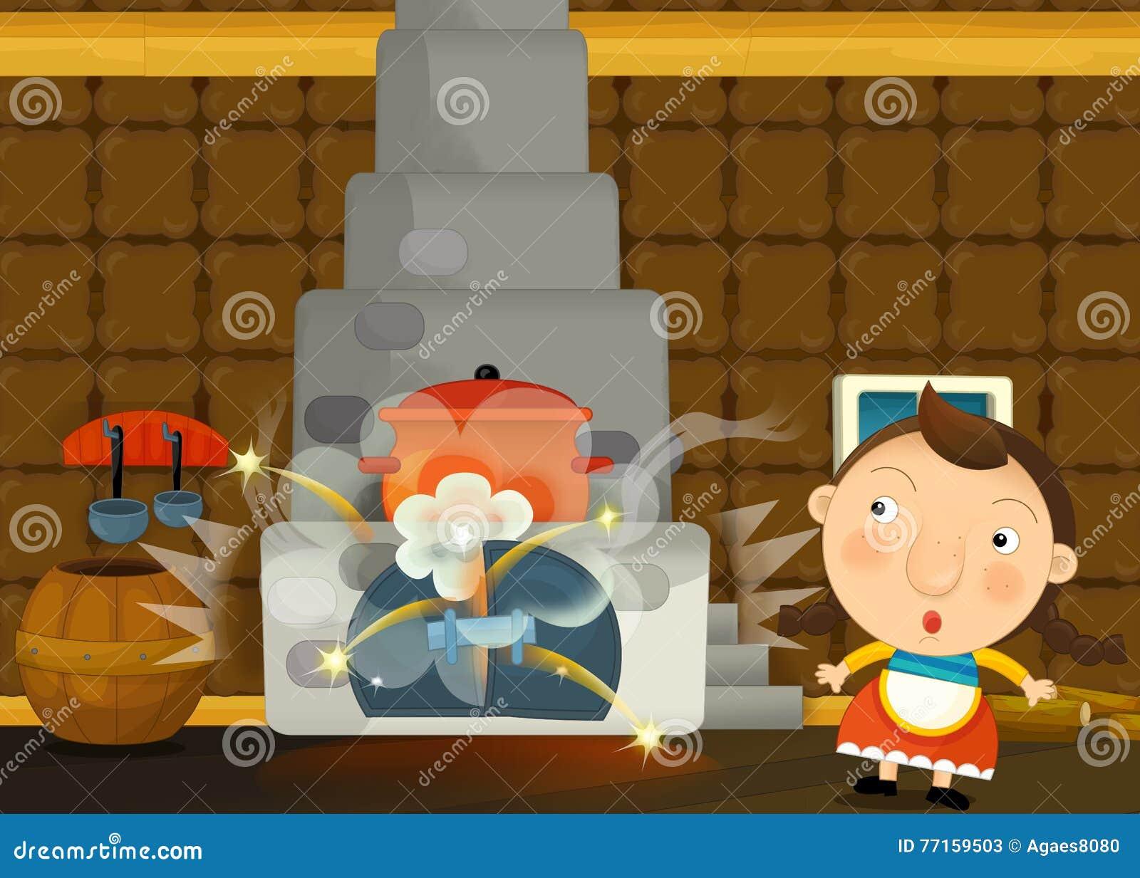 Scène traditionnelle heureuse et drôle de bande dessinée avec la jeune fille