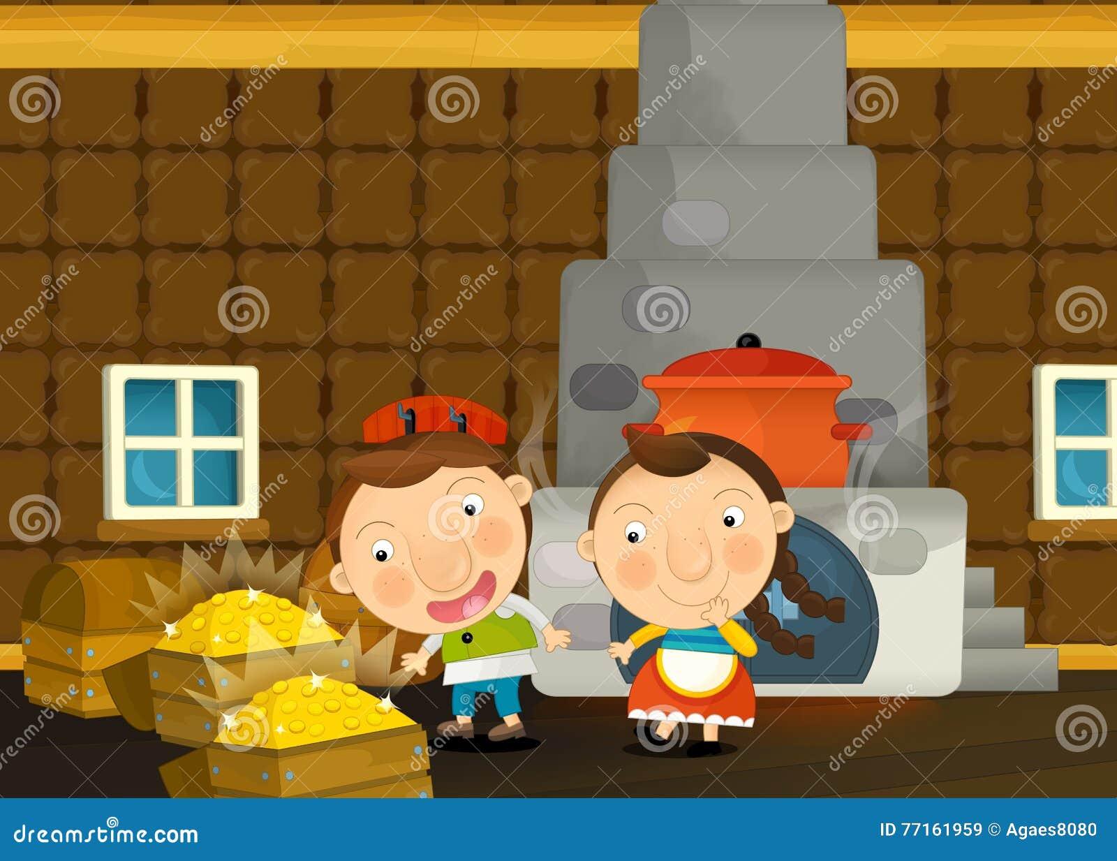 Scène traditionnelle heureuse et drôle de bande dessinée avec la jeune fille et le garçon dans la cuisine