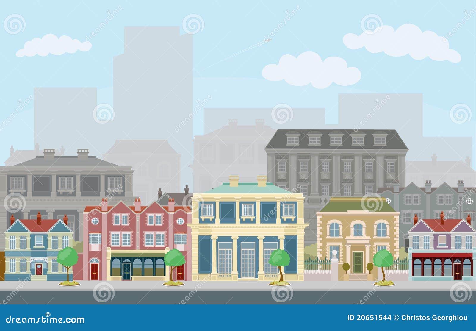 Sc ne urbaine de rue avec les maisons urbaines intelligentes images stock i - Les maisons intelligentes ...