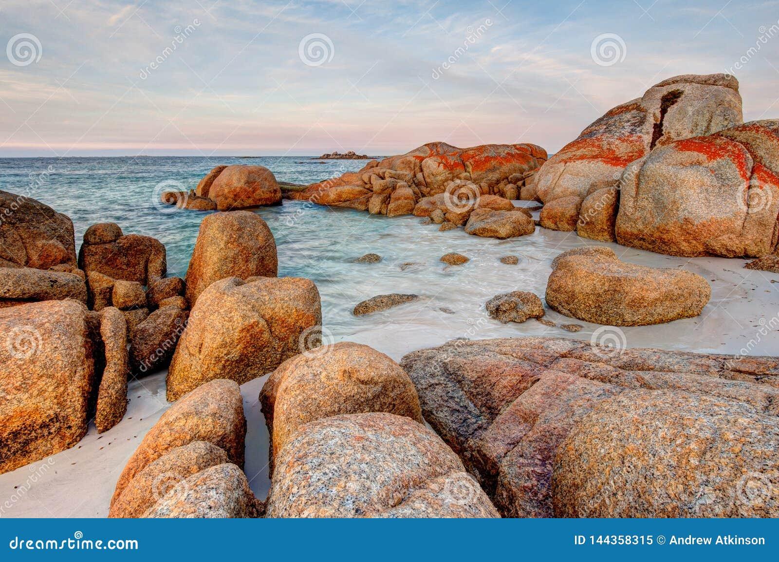 Scène van de reuzekeien van de granietrots die in oranje en rood korstmos bij de Baai van Branden in Tasmanige, Australië worden