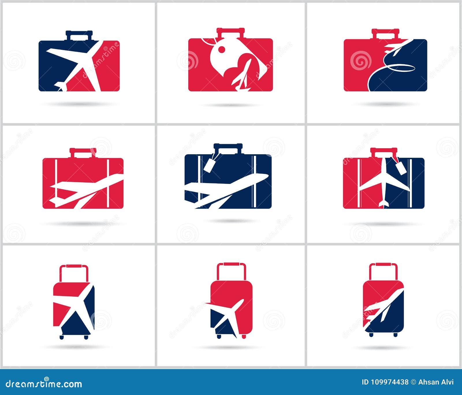 Scénographie de logos de voyage L agence de vente de billets et le tourisme dirigent les icônes, l avion dans le sac et le globe