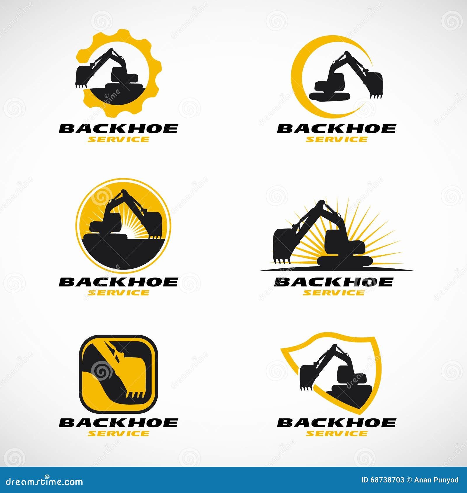 Scénographie jaune et noire de vecteur de logo de pelle rétro