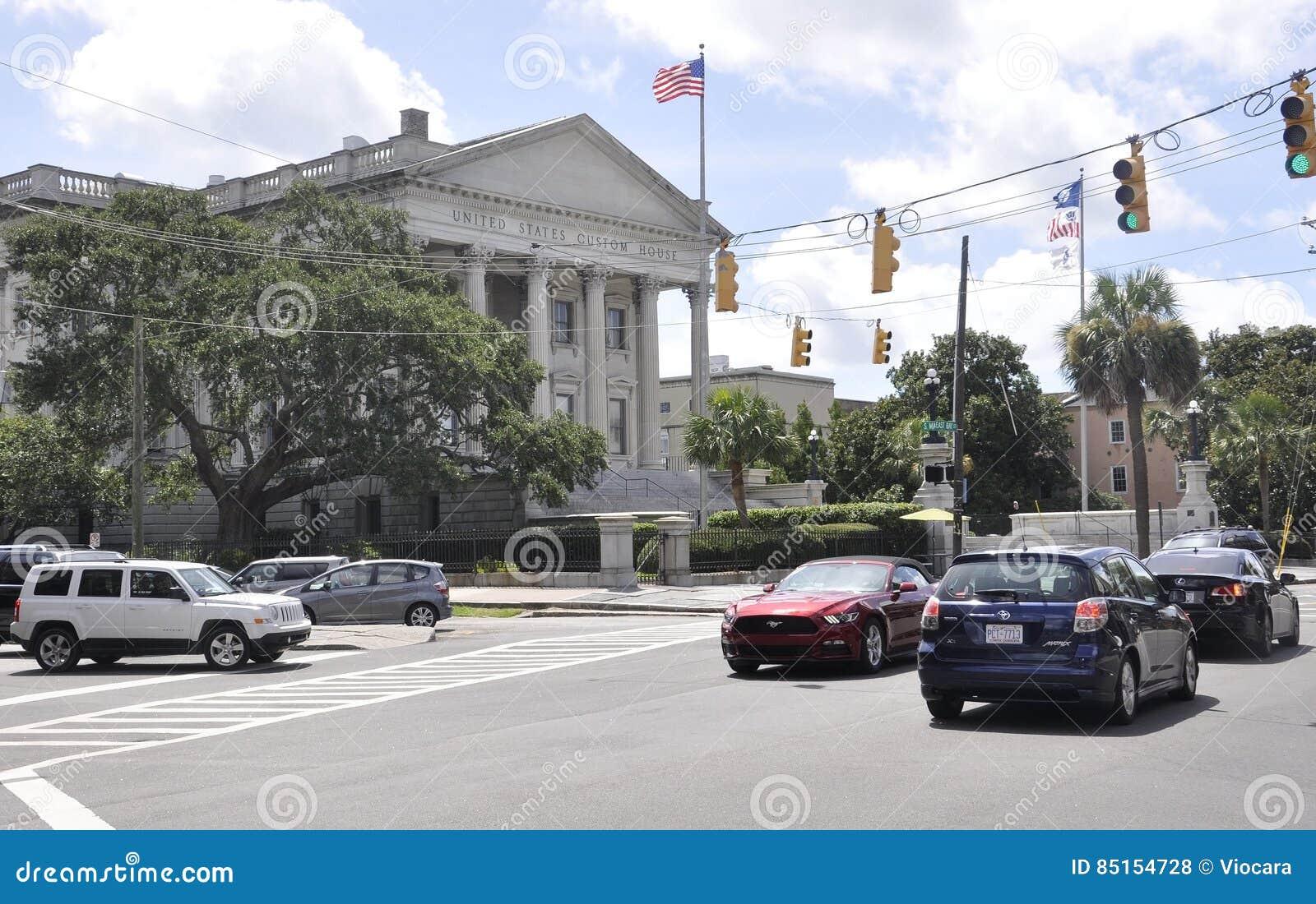 SC Чарлстона, 7-ое августа: U S Улица таможни от Чарлстона в Южной Каролине