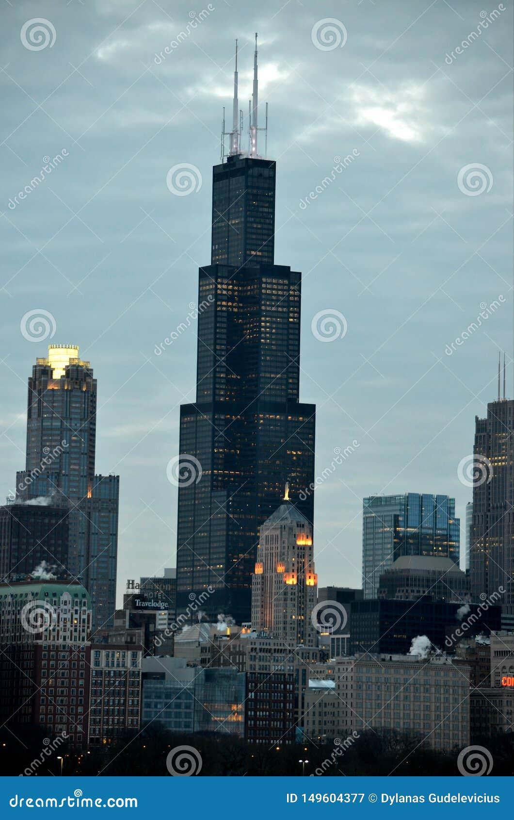Sc c?ntrico del centro de las finanzas de Chicago