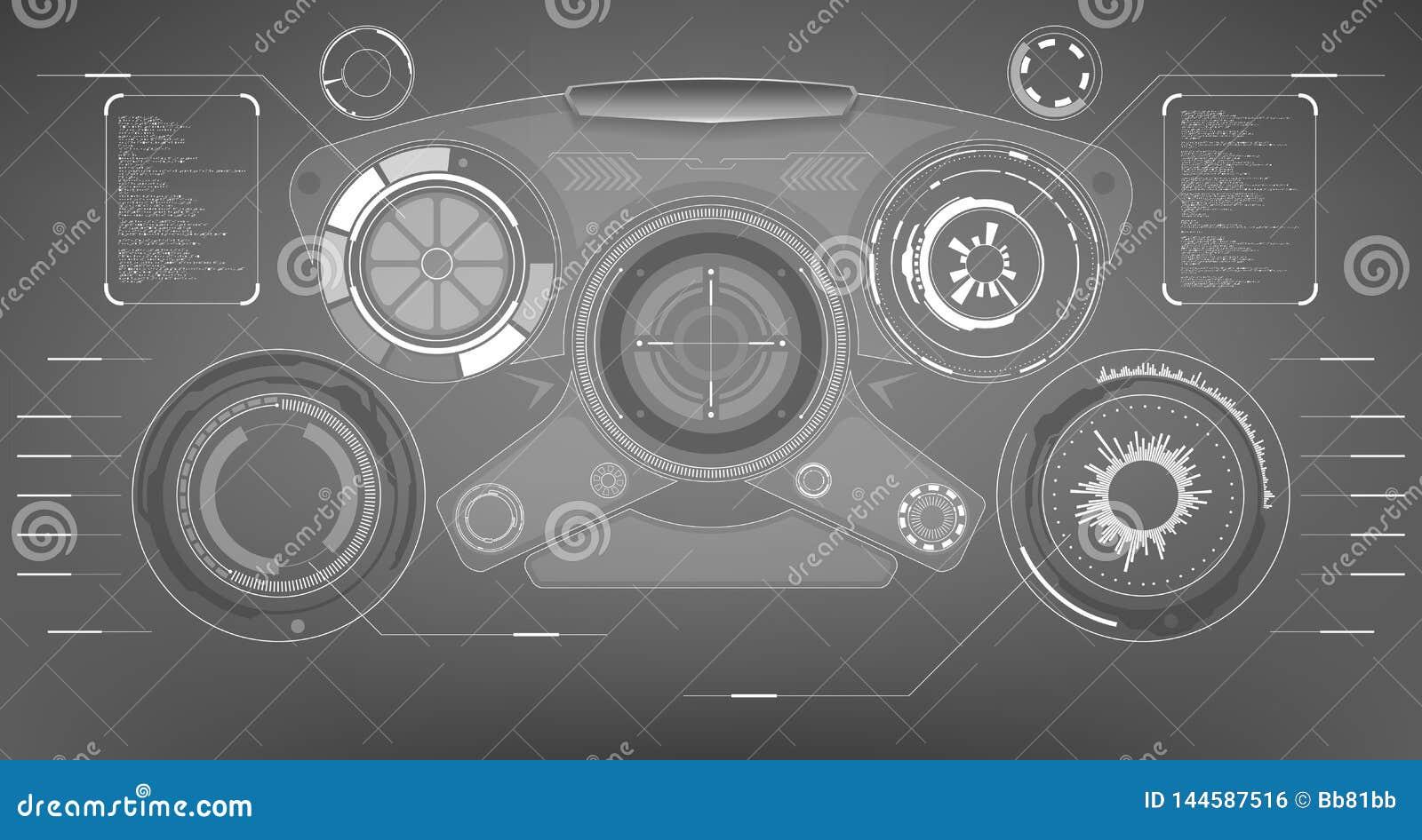 Sc.i-FI Futuristisch Gloeiend HUD Display Het de Technologiescherm van de Vitrualwerkelijkheid
