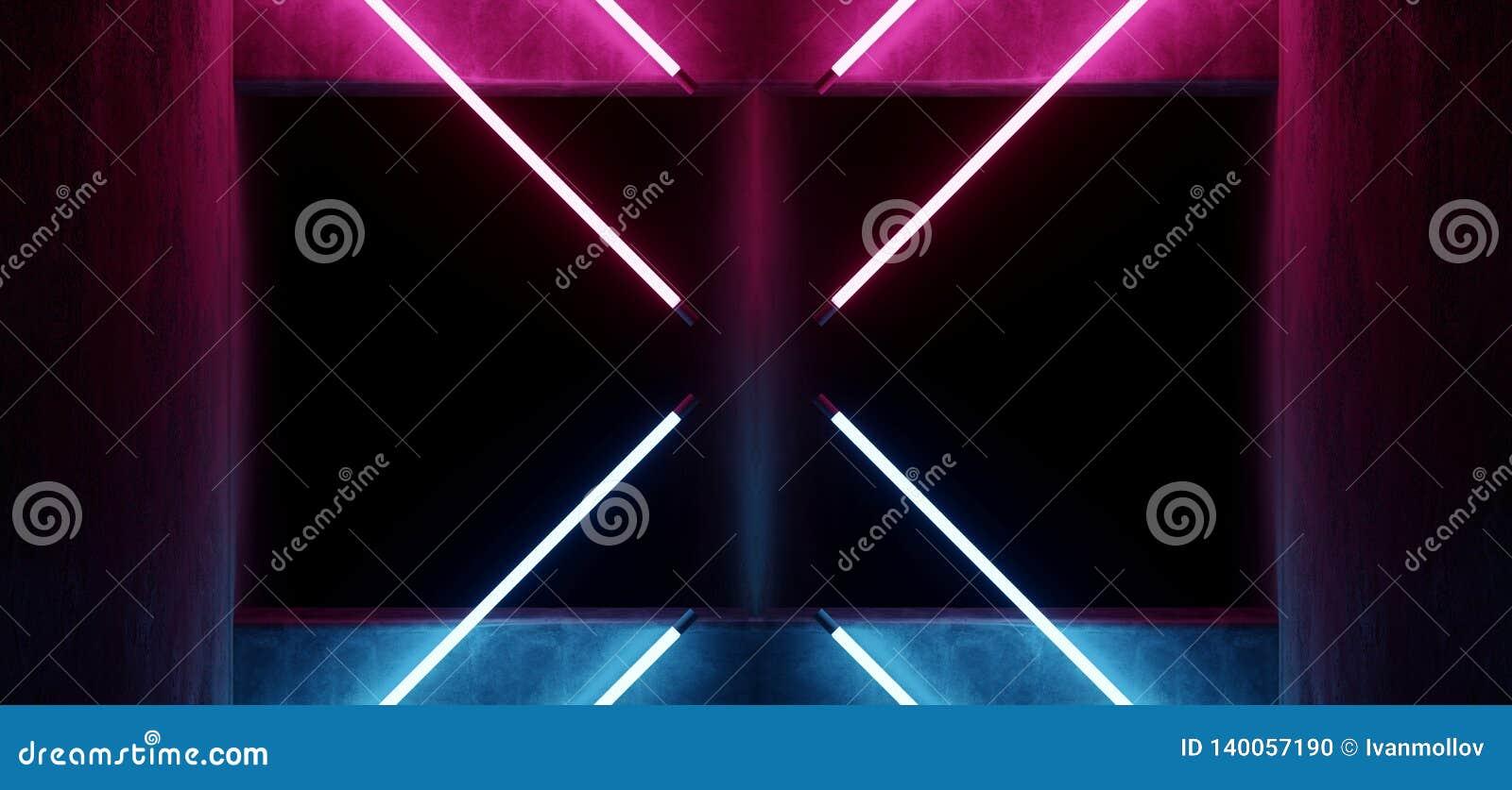 Sc.i-het Neon van FI Moderne Futuristische het Gloeien Driehoek Gestalte gegeven Purpere Blauwe het Gloeien Buislichten met Lege