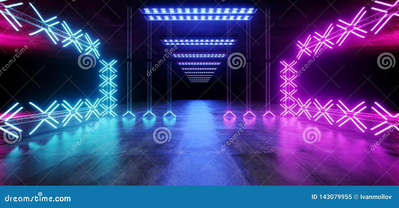 Sc.i-van de het Metaalbouw van FI Asphalt Futuristic Dance Stage Empty Ondergrondse de Structuur de Tunnel toont Trillende Geleid