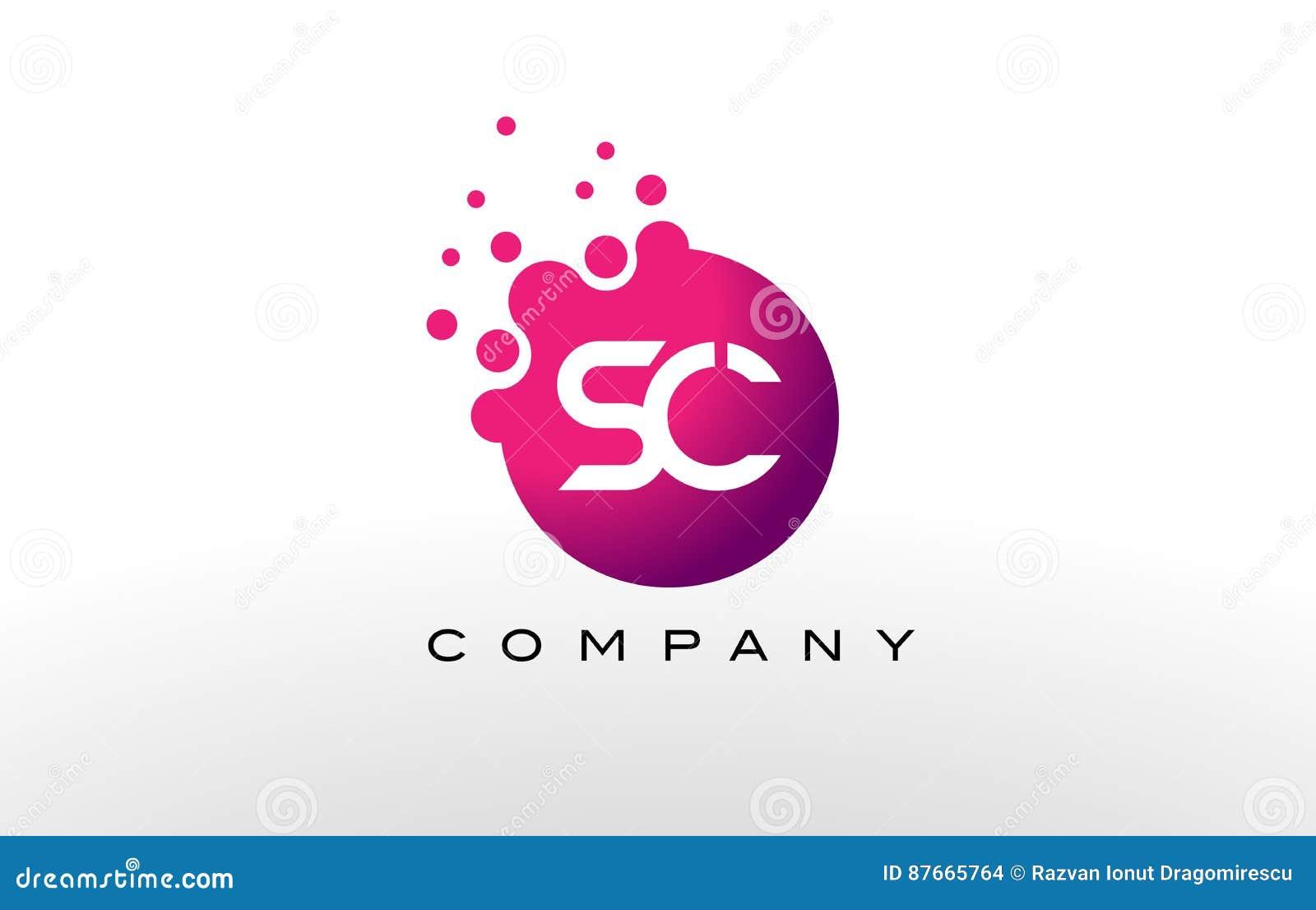 Sc Letter Dots Logo Design With Creative Trendy Bubbles