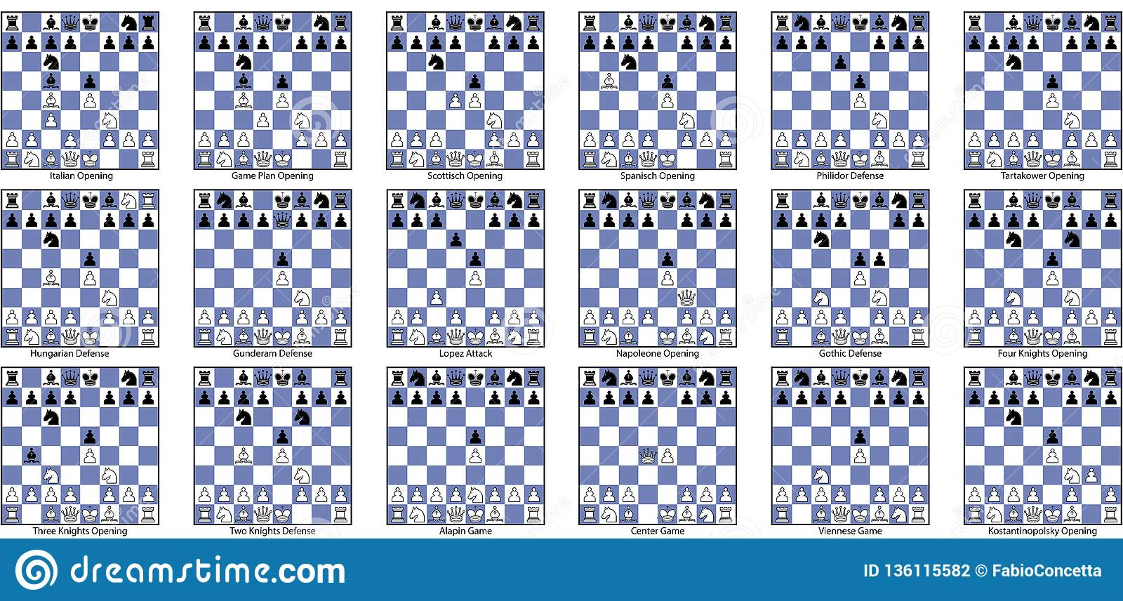 Collection Of Open Game Chess Openings Stock Vector
