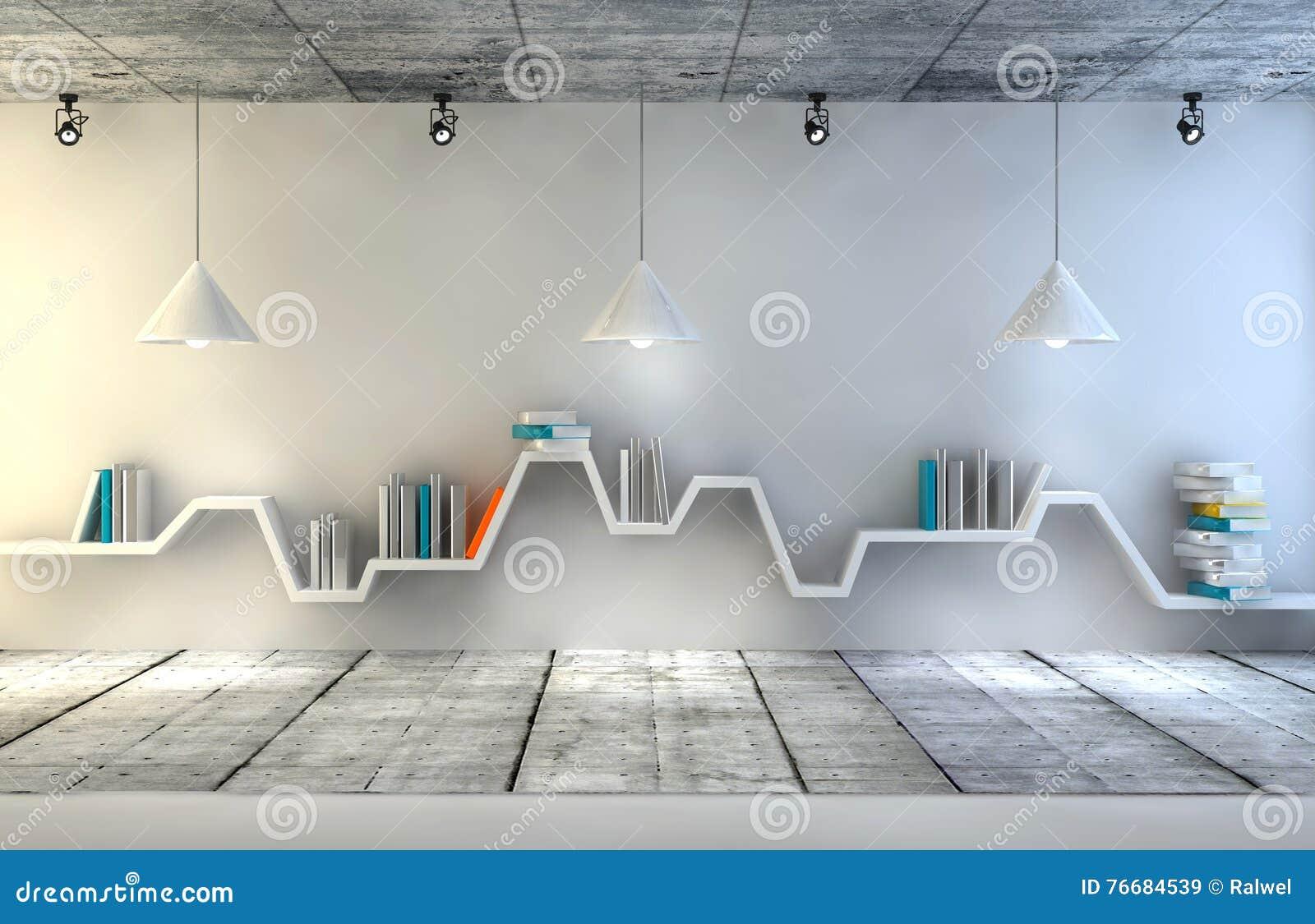 Scaffali Per Libri Design.Scaffale Per Libri Minimalista Sopra Fondo Concreto Drammatico