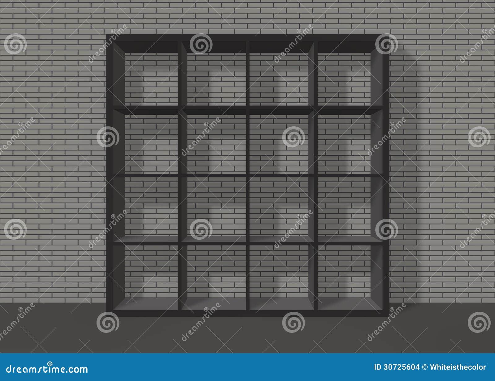 Scaffale per libri quadrato vuoto nero sul fondo grigio for Disegni di garage di mattoni