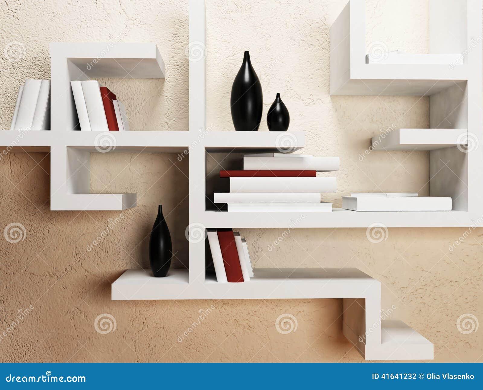 Scaffali creativi sulla parete illustrazione di stock - Scaffali a parete ...