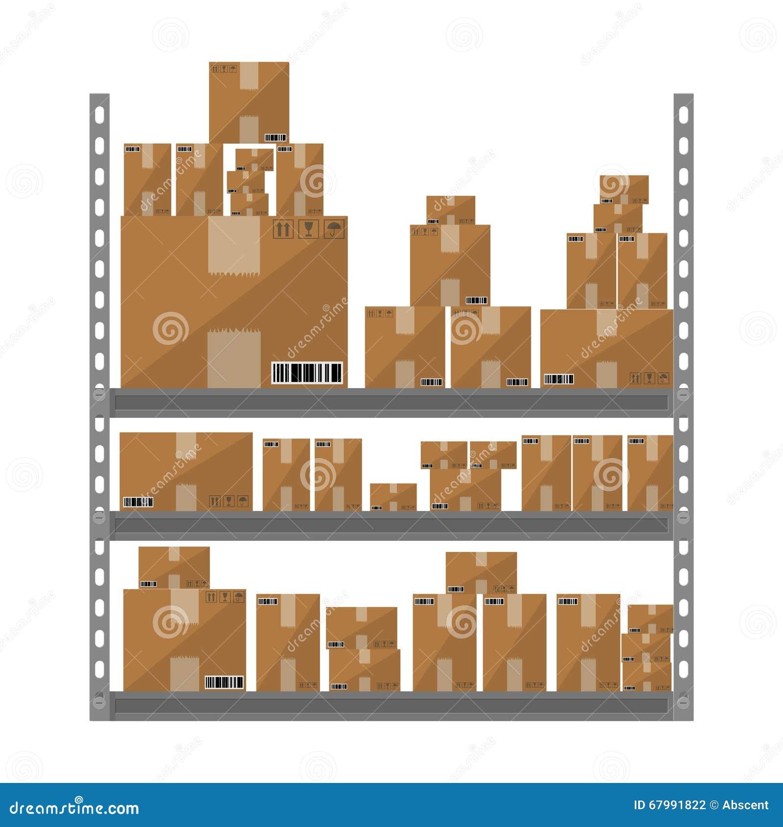 Scaffali metallici con le scatole di marrone del fumetto for Piano del magazzino
