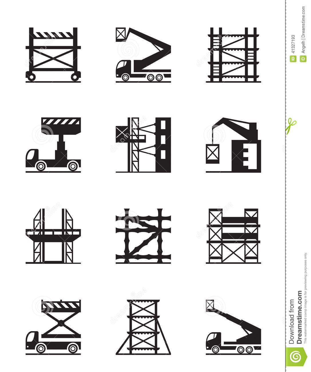 Scaffolding And Construction Cranes Icon Set Stock Vector - Image ...