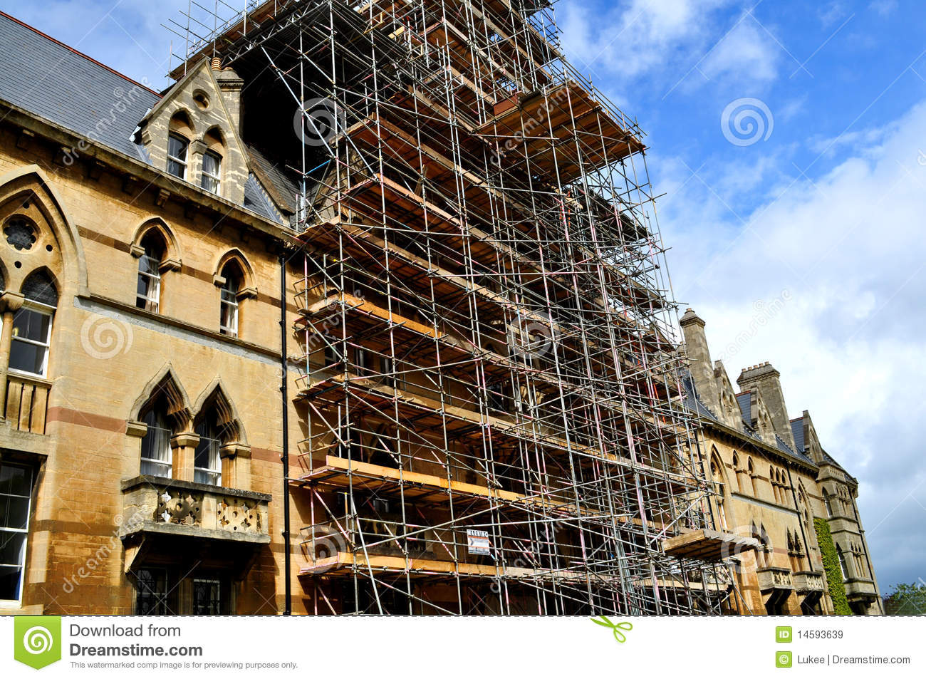 Scaffolding For Restoration Of An Old Building Stock Image   Image Of  Poles, Safety: 14593639