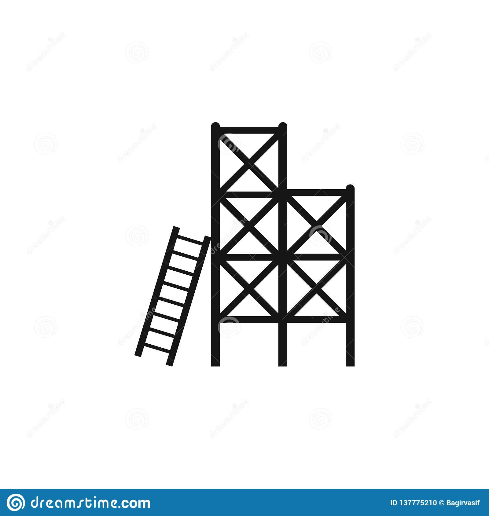 Scaffolding vector icon isolated on transparent background, Scaffolding logo concept. Ladder, scaffold, stairs, steps